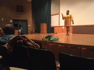 LaNia Roberts talks to the crowd in Grant Auditorium during her event,