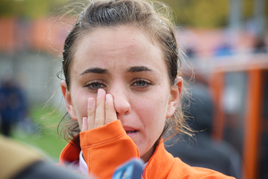 Jessica Vigna rubs her eyes on Sunday at SU Soccer Stadium. The Orange was eliminated from ACC tournament contention.