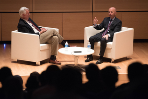 Sean McDonough, an SU alumnus and ESPN broadcaster, addressed a group of students in Newhouse on Tuesday night.