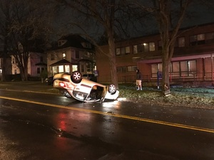 A driver flipped his car upside down on Ostrom Avenue early Saturday morning. The cause of the car accident is unclear.