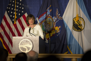 Syracuse Mayor Stephanie Miner gives her final State of the City on Thursday evening.