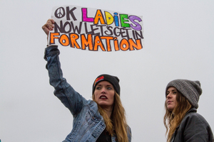 Participants in the Women's March on Washington boasted many creative signs, from this play on Beyoncé's hit song