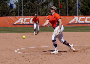 Syracuse ace AnnaMarie Gatti struggled Friday in game 1, but nine SU runs handed East Carolina a loss.