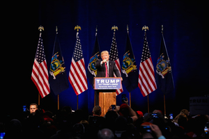 President Donald Trump stopped to campaign in Syracuse, spreading his message that he would