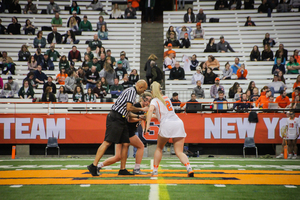 Morgan Widner steps to the X this year facing an opponent and drawing in the shadow of Syracuse legend, Kayla Treanor.