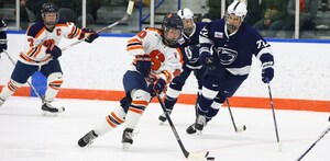 Junior forward Alysha Burriss and the Orange dominated Penn State, 5-1, in the seasons penultimate game.