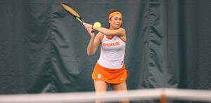 Sophomore Maria Tritou clinched the victory for the Orange, defeating Sydney Riley after all of the other matches had concluded.